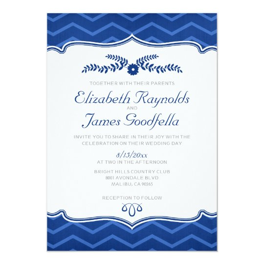 Royal Blue Zigzag Wedding Invitations