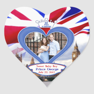 Royal British Baby Prince George Heart Sticker