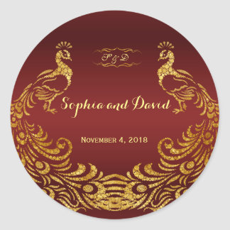 Royal Burgundy Gold Peacock Wedding Custom Classic Round Sticker
