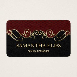 Royal Burgundy Leather Gold Business Card Monogram