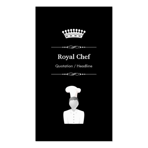 Royal Chef - Elegant Modern Black White Business Card Template