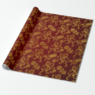 Royal Chic Golden Lions Club Red Velvet Wrapping Paper
