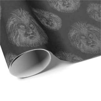 Royal Chic Silver Black Lions Club VIP Leone Wrapping Paper