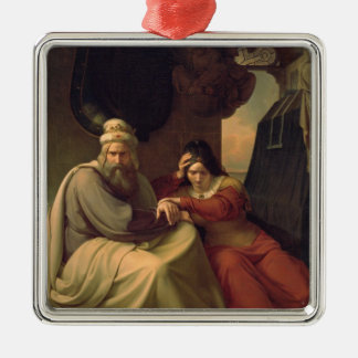 Royal couple mourning for their dead daughter Silver-Colored square decoration