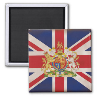 Royal Crest on theUnion Jack Flag Square Magnet