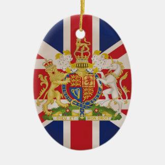Royal Crest on Union Jack. Ceramic Oval Decoration