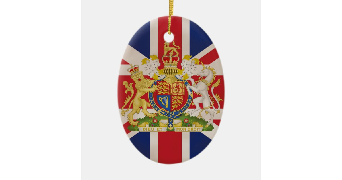 Royal crest on union jack ceramic oval decoration zazzle for Decoration murale union jack
