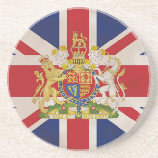 Royal Crest on Union Jack Flag Drink Coasters