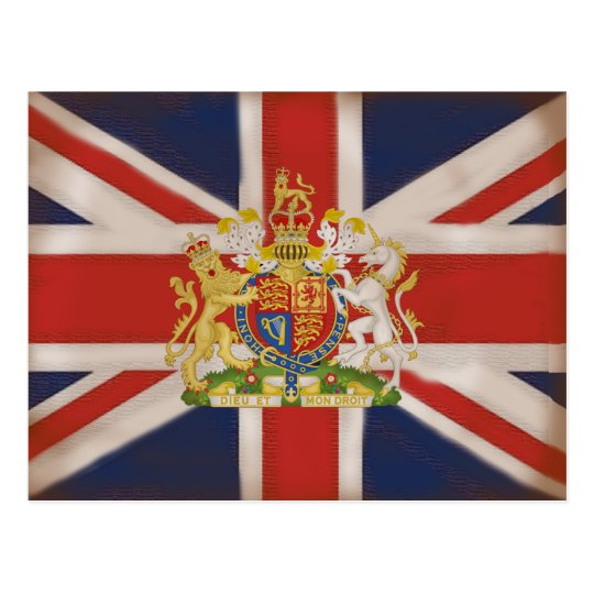 Royal Crest on Union Jack Flag Postcard