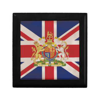 Royal Crest on Union Jack. Small Square Gift Box