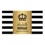 Royal Crown Logo Elegant Gold Black White Stripes Pack Of Standard Business Cards