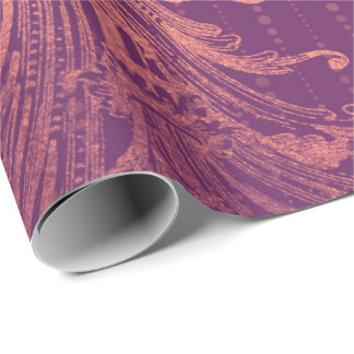 Royal Damask CoralRose Gold  Floral Drops Burgundy Wrapping Paper