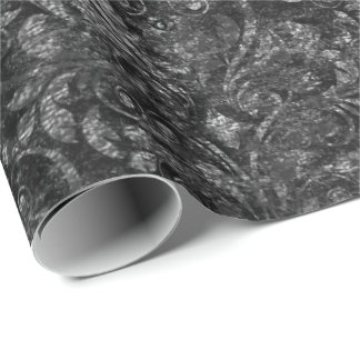Royal Damask Crushed Velvet Black  Burgundy Maroon Wrapping Paper