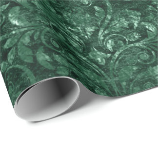 Royal Damask Crushed Velvet Deep Emerald Green Wrapping Paper
