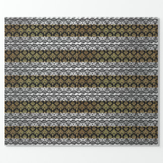 Royal Damask Golden Black Lace Silver Stripes Wrapping Paper