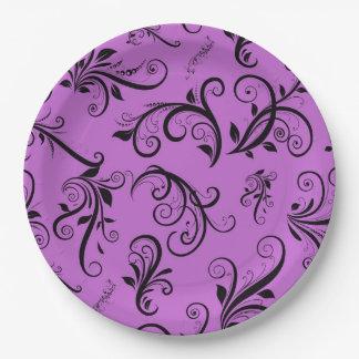 Royal Damask, Ornaments, Swirls - Purple Black 9 Inch Paper Plate
