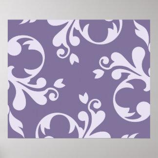 Royal Damask, Ornaments, Swirls - Purple White Poster