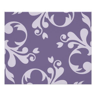Royal Damask, Ornaments, Swirls - Purple White Print