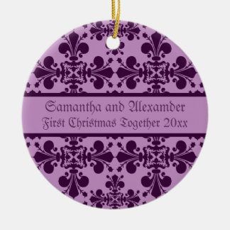 Royal Damask purple and lavender first Christmas Christmas Ornament