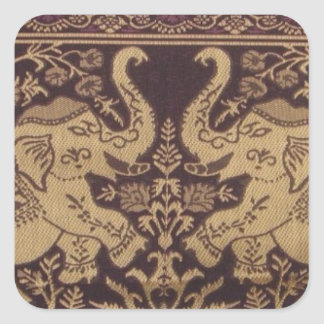 ROYAL ELEPHANT INDIAN INTRICATE SILK ARTWORK SQUARE STICKER
