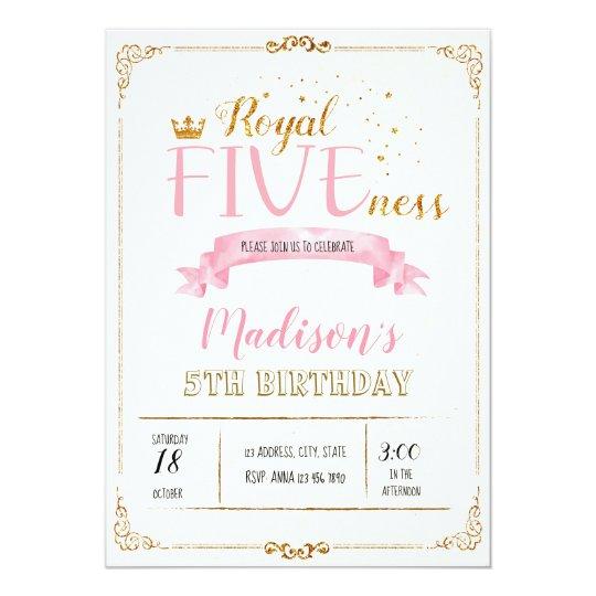 Royal Fiveness Birthday Invitation Zazzle Co Uk