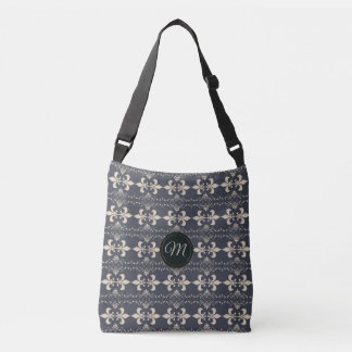 Royal fleur-de-lis navy pattern.monogram. crossbody bag