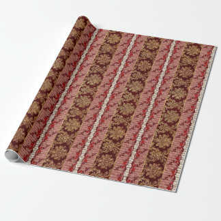 Royal Floral Damask Golden Red Lace Stripes Wrapping Paper