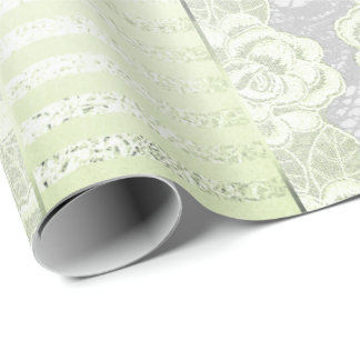 Royal Floral Roses Silver Mint  Lace Stripes Wrapping Paper