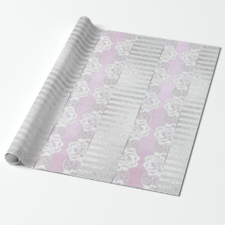 Royal Floral Roses Silver White Lace Stripes Wrapping Paper