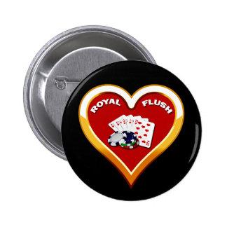 ROYAL FLUSH HEART PINBACK BUTTON