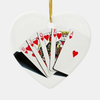 Royal Flush Hearts Christmas Ornament