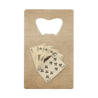 Royal Flush Spades on Burlap Background