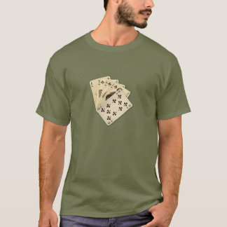 Royal Flush Spades on Burlap Background T-Shirt