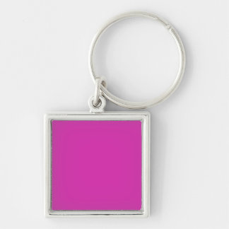 ROYAL FUCHSIA (solid purplish-red color) ~ Silver-Colored Square Key Ring