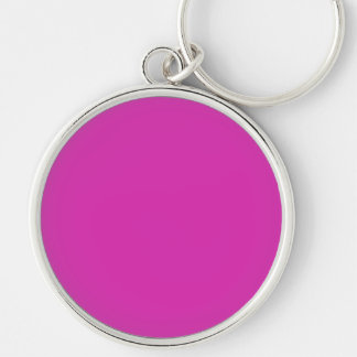ROYAL FUCHSIA (solid purplish-red color) ~ Silver-Colored Round Key Ring