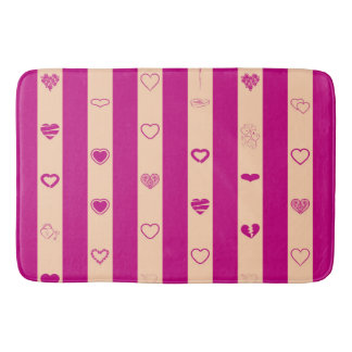 Royal Fuchsia Stripes Modern Heart Pattern Bath Mat