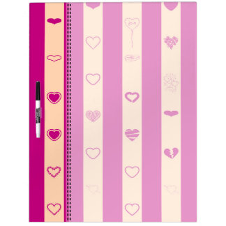 Royal Fuchsia Stripes Modern Heart Pattern Dry Erase Board