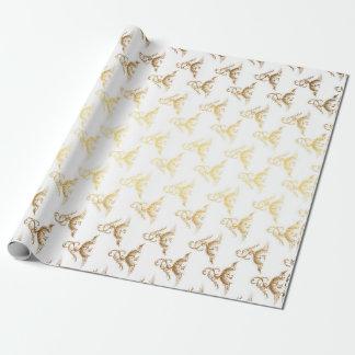 Royal Glam Golden Magic Fenix Dragon Princess Wrapping Paper