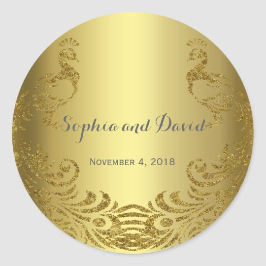 Royal Gold Abstract Peacock Wedding Custom Classic Round