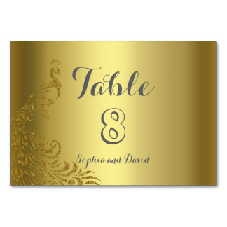 Royal Gold Abstract Peacock Wedding TABLE NUMBER Table Cards