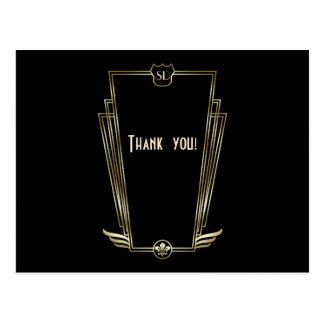 Royal Gold Art Deco Monogram Wedding Thank You Postcard
