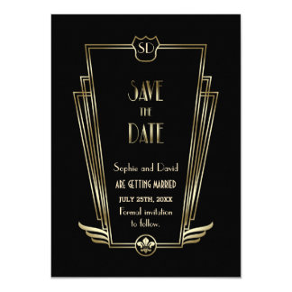 Royal Gold Black Art Deco Monogram Save The Date Card