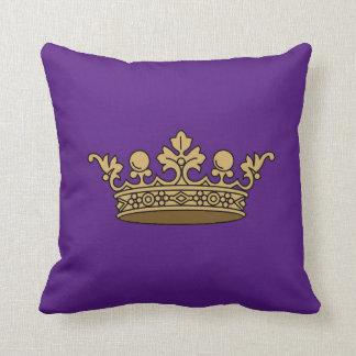 royal gold crown on deep royal purple background cushion