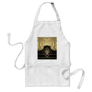 royal,gold,fleur de lis,pattern,on black,elegant, standard apron