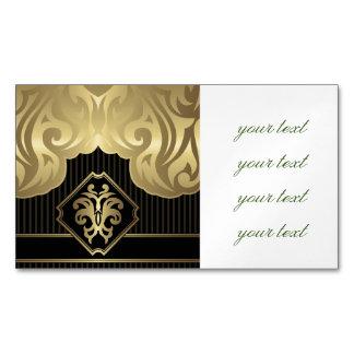 royal,gold,fleur de lis,pattern,on black,elegant,v magnetic business cards