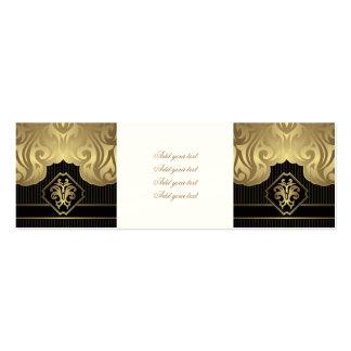 royal,gold,fleur de lis,pattern,on black,elegant,v pack of skinny business cards