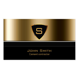 Royal Gold Shield Cement Contractor Business Card