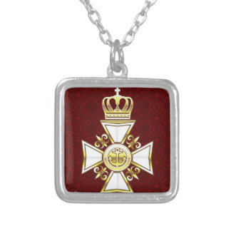 Royal Gold White Navy Cross Square Pendant Necklace
