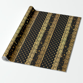 Royal Golden Black Lace Dots Glitter Stripes Wrapping Paper