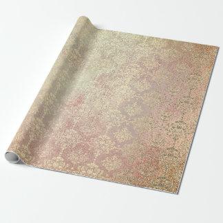 Royal Golden Copper Rose Metallic Damask Princess Wrapping Paper
